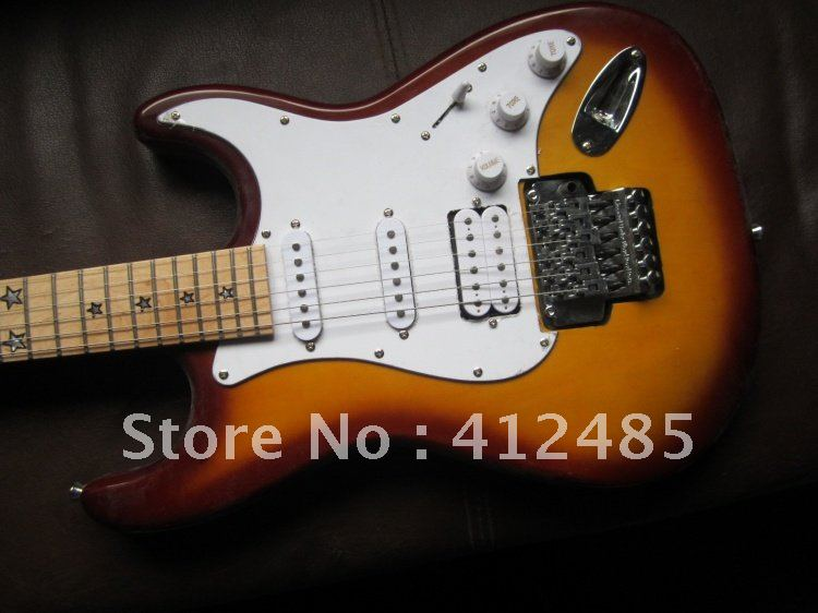 new arrival F stratocaster sunset color richie sambora signature star inlay tremolo Electric guitar free shipping(China (Mainland))