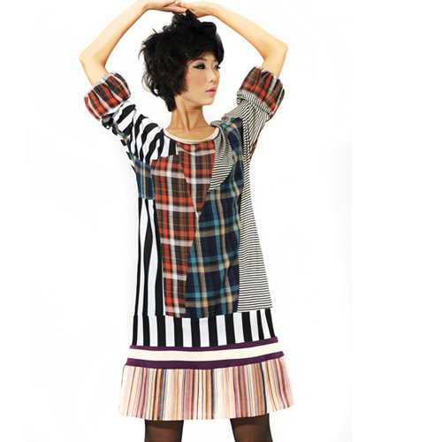 [ LYNETTE'S CHINOISERIE - L.wang ] 2014 Autumn Original Design Women Stripe Plaid Patchwork Long Sleeve Cotton Underdress S085(China (Mainland))
