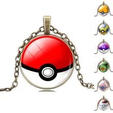 Vintage Bronze Chain Statement Necklaces Collares Glass Cabochon Pokemon Ball Pendant Choker Necklace Jewelry For Women(China (Mainland))
