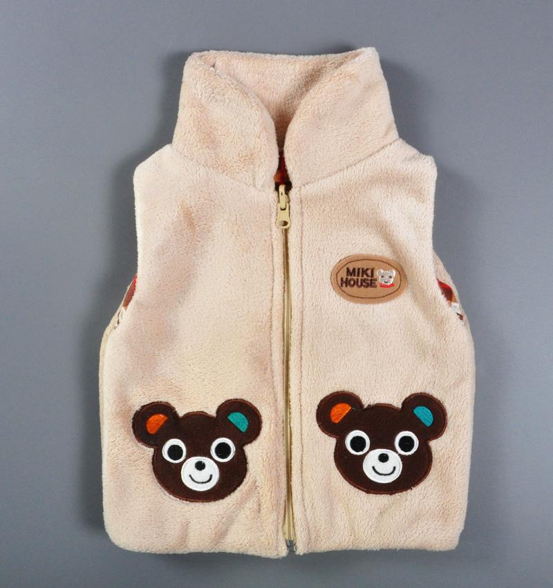 winter children's Outerwear Coats hooded vest Kids khaki cartoon Bear vest Boys girls thick waistcoat baby boy winter clothes(China (Mainland))