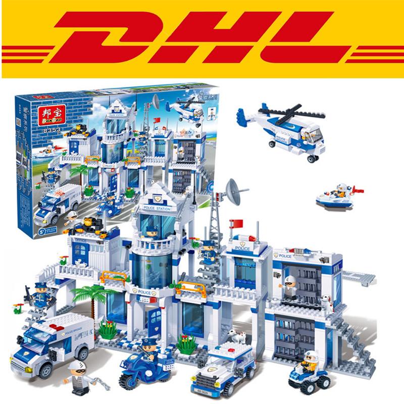 Фотография Banbao 8353 1285Pcs City Series Extra Large Police Station Model Building Kit Minifigure Blocks Bricks Toy Gift Compatible Legoe