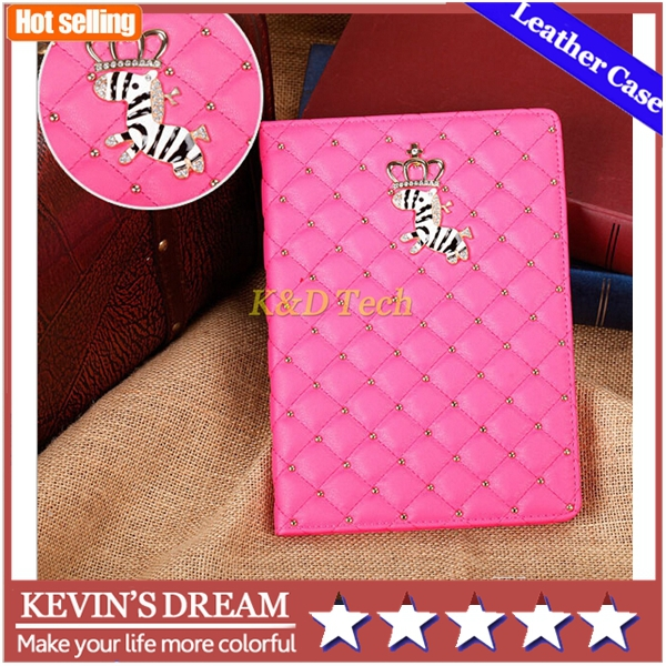 For apple ipad Air 2 for ipad 6 Fashion crown zebra Luxury PU Leather Wallet Style Flip Automatic Sleep & Wake-Up Case Cover(China (Mainland))