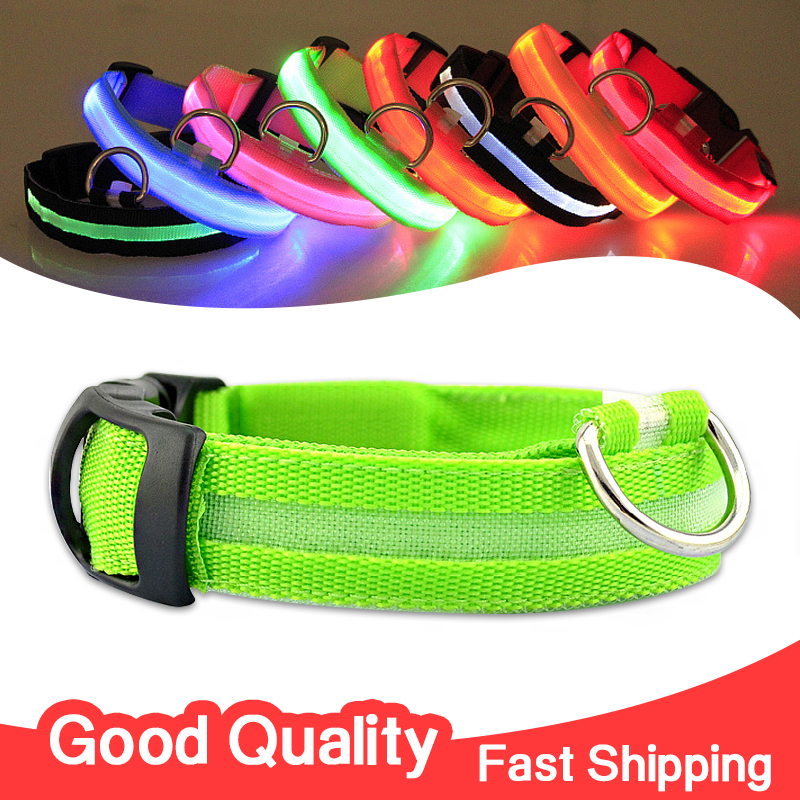 Nylon Pet LED Dog Collar Night Safety LED Flashing Glow LED Pet Supplies Dog Cat Collar Small Dogs Collars(China (Mainland))