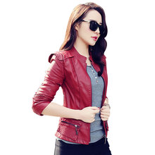New Women Autumn Winter Fashion Casual Basic PU Leather Locomotive Coat Zipper jacket Short Top Slim Street style Plus Size