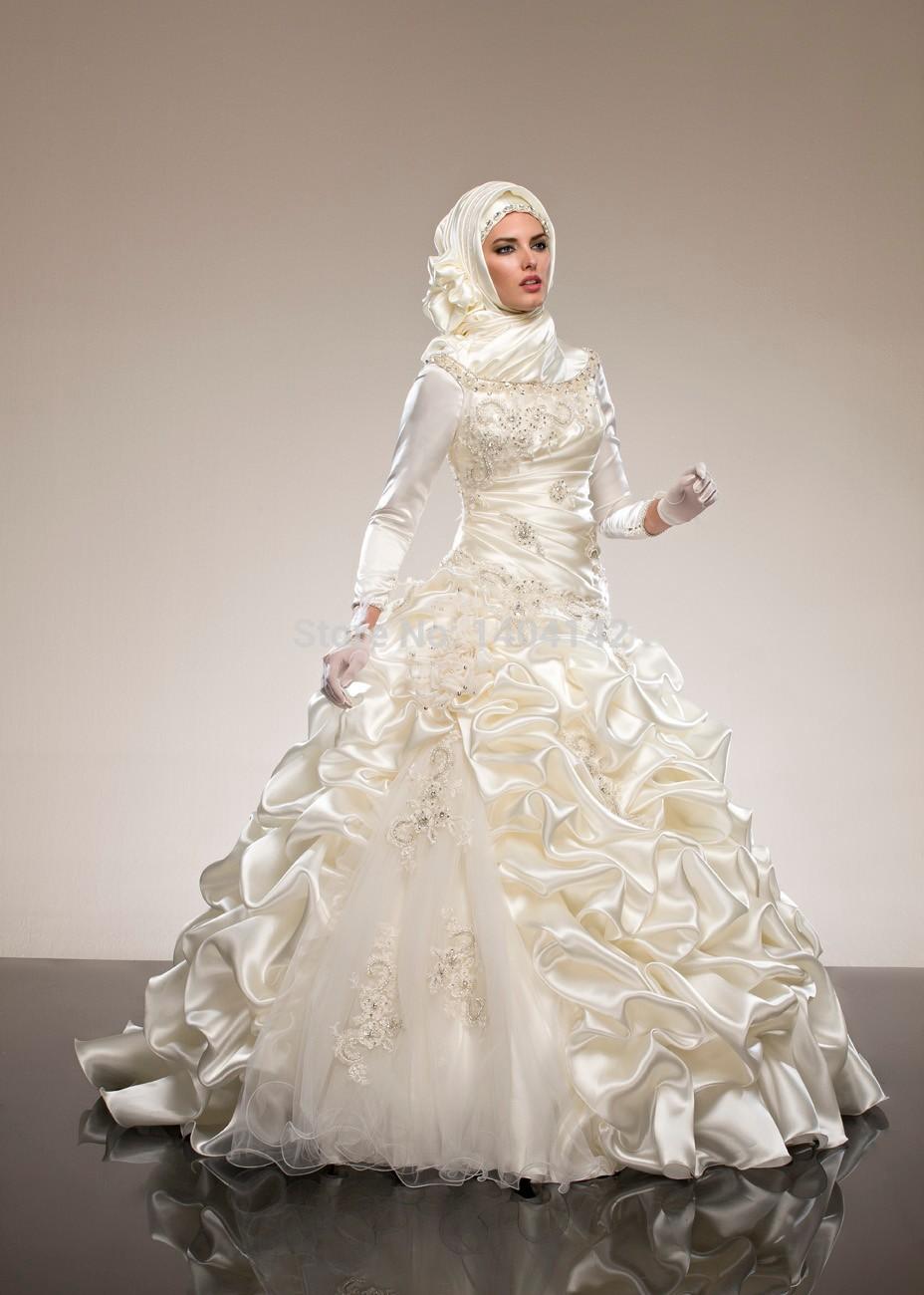 Sequins Appliques Ball Gown Muslim Wedding Dress With Hijab muslim wedding dresses Muslim Wedding Dress with Hijab See Larger imageSee