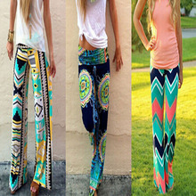 21 colors!summer women pant Casual High Waist long pant trousers Wide Leg Palazzo Trousers Floral pant hip hop cute streetwear(China (Mainland))