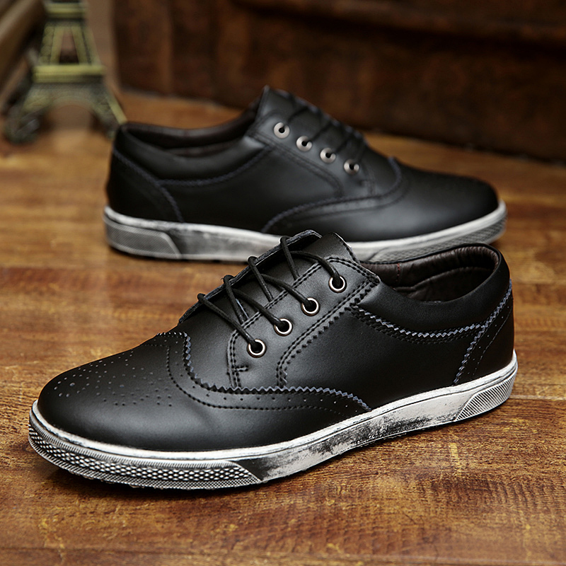 New Arrival Free Shipping Top Quality Men's Skate Shoes Breathable Leather Brogue Leather Shoes(China (Mainland))