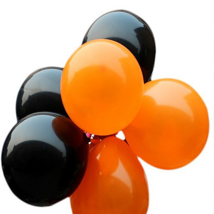 50pcs Latex Big Round Bubble Halloween Balloons Party Decoration Thickening Globos black orange ball Best Quality classical toy(China (Mainland))