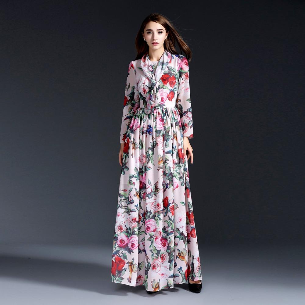 New arrival 2016 spring summer vintage fashion women chiffon long dress floral rose animal patterns print brand maxi dresses