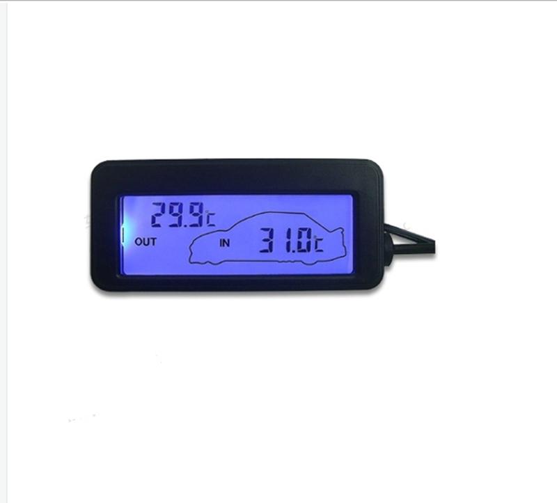 black digital car thermometer brand mni dc 12v car inside outside thermometer blue backlit with. Black Bedroom Furniture Sets. Home Design Ideas