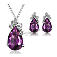 free shipping Gorgeous Nickel And Lead Free Necklace And Earring Meaningful Different Styles Purple Stone Gold Jewellery Sets(China (Mainland))