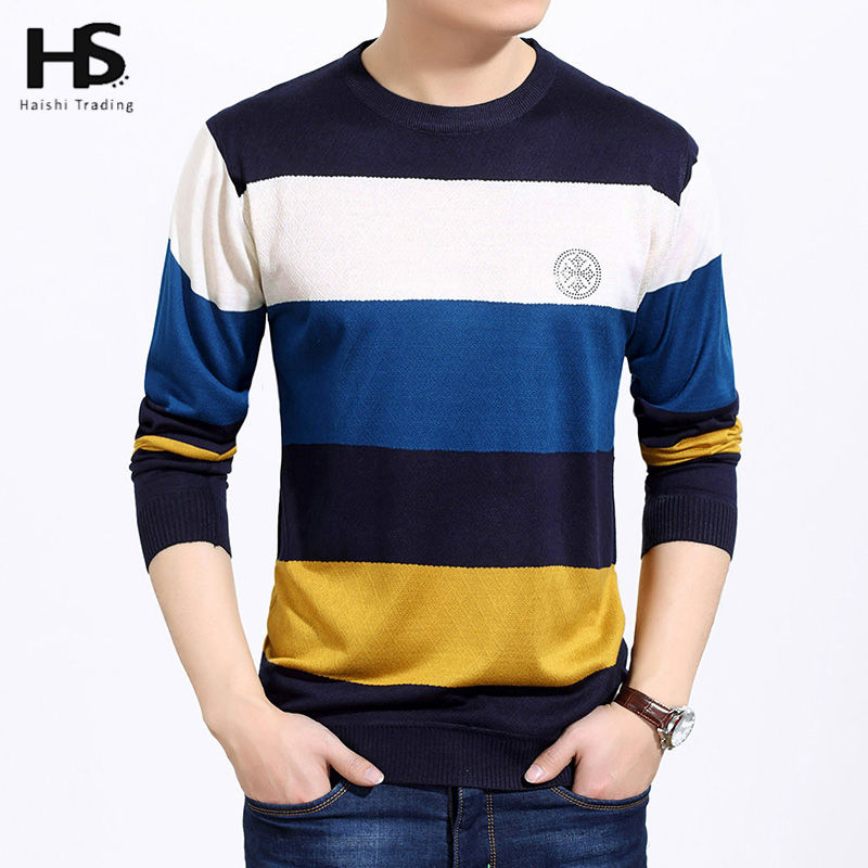 Autumn Thin Wool Sweater For Men Brand Clothing O-Neck Fashion Big Striped Pull Male Knitted Cashmere Pullover Men Sweaters 6661(China (Mainland))