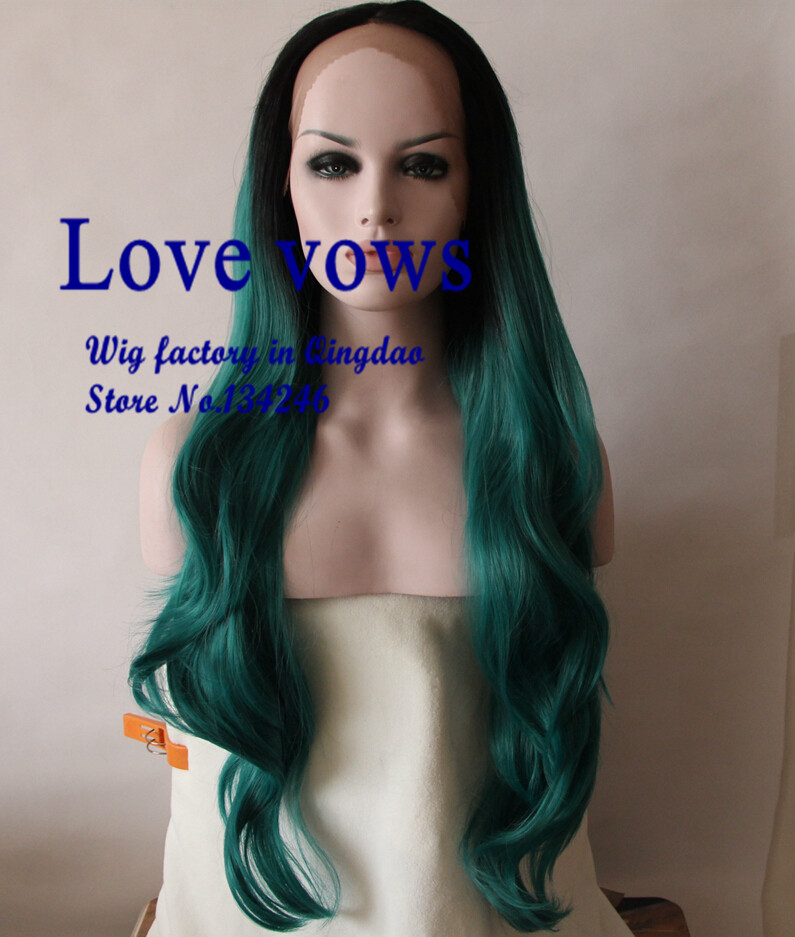Milkyway wave turquoise ombre black to green two tone heat resistant glueless synthetic lace front wig(China (Mainland))