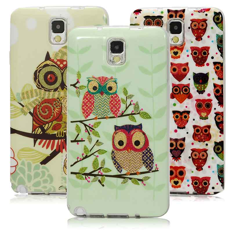High Quality Glitter Powder Owls TPU Soft Silicon Rubber Skin Cover Mobile Phone Case For Samsung Galaxy Note 3 III N9000(China (Mainland))