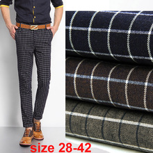 large size 28-42 Mens plaid pants stretch autumn comfortable tartan check Activity trousers golf wear-blue/red(China (Mainland))
