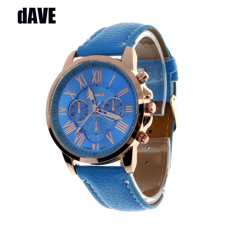 2015 New hours Geneva Roman Numerals Faux Leather Analog Quartz Watch Women Watches Wrist Watch woman geneve watch wholesale <br><br>Aliexpress