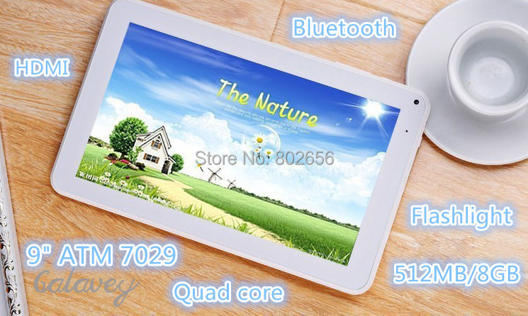 """Crazy Sale!!!!9""""ATM7029 Tablet pc 9inch TFT LCD Dual Camera Google Android 4.4 Quad core HDMI Flashlight Bluetooth 512M/8G WIFI(China (Mainland))"""