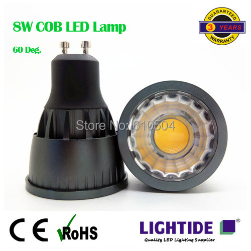 8W GU10 COB LED Ceiling Spotlight Lamp, Free Freight, 60 degree beam, High lumen output, CRI 80 above(China (Mainland))