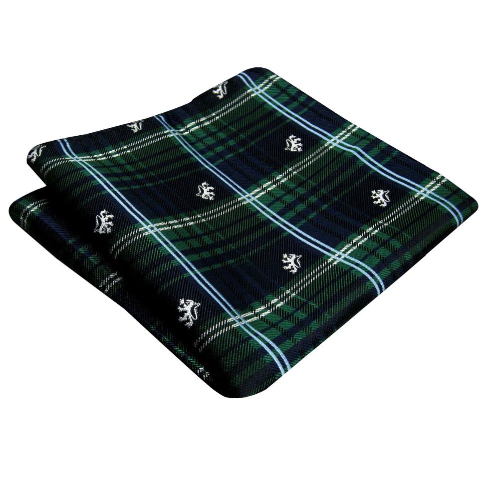 Handkerchief Checked Green Blue font b Tartan b font Pocket Square Mens Ties Silk Jacquard Woven