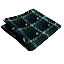 Handkerchief Checked Green Blue Tartan Pocket Square Mens Ties Silk Jacquard Woven Hanky