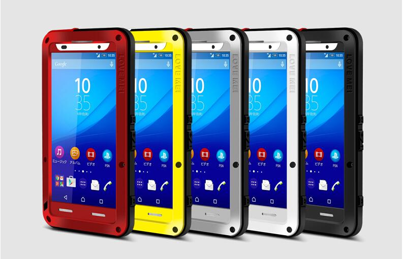 Love Mei Brand Powerful Waterproof Shockproof Metal Case For Sony Xperia Z4 Aluminum Case Cover + Tempered Glass(China (Mainland))