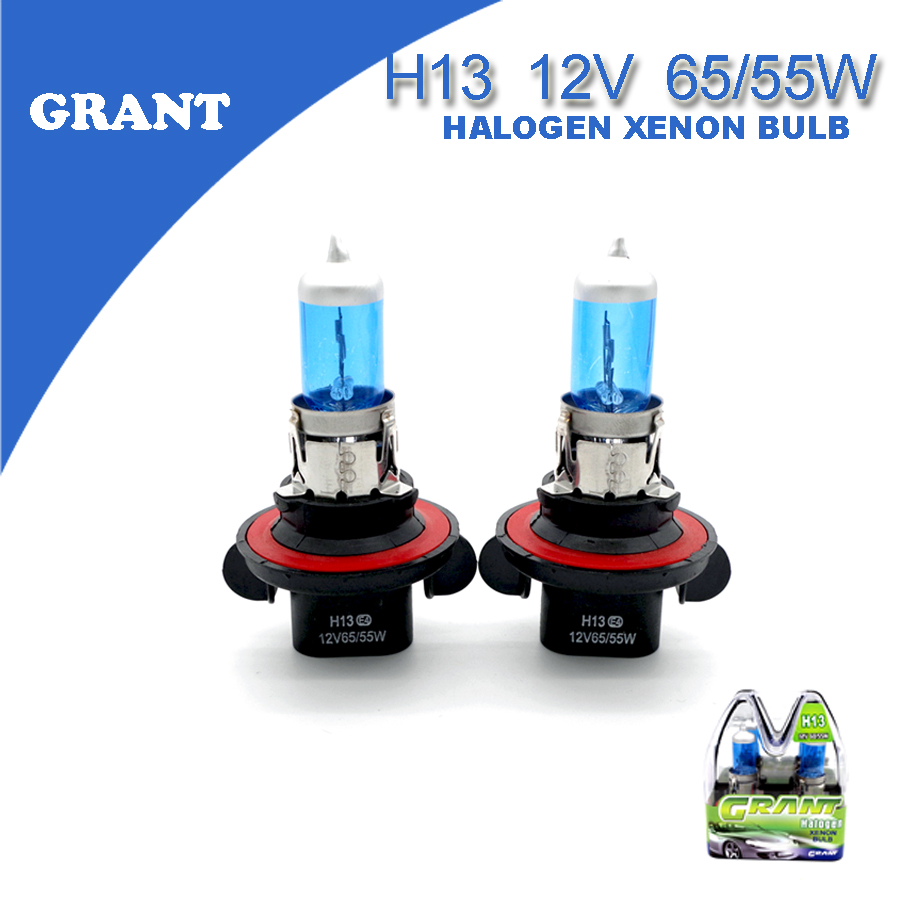 1Set GRANT H13 9008 12V 65/55W Halogen Xenon Bulbs 8000K Bright White Auto Replacement Lamps Car Styling Headlights For Ford(China (Mainland))