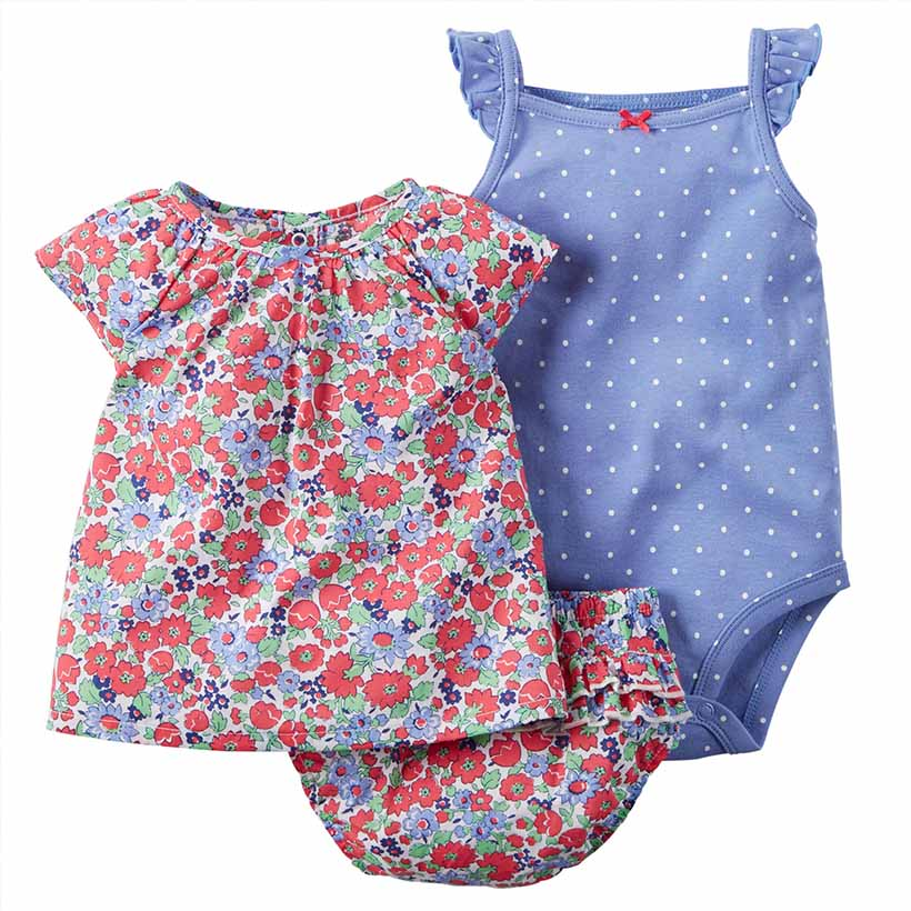 2016 Hot Baby girl clothes cotton floral Baby Clothing Set baby rompers Girls summer style Sets 3 pieces/set=1 set + 1 romper(China (Mainland))