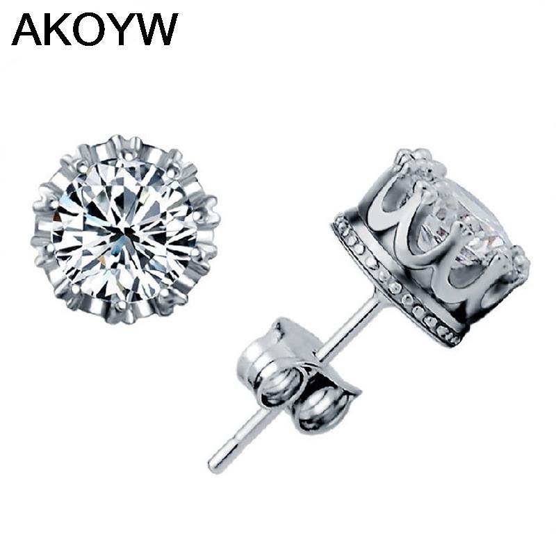 Silver plated crown earrings wild crystal jewelry lady lovely high quality men's fashion jewelry manufacturers, wholesale(China (Mainland))