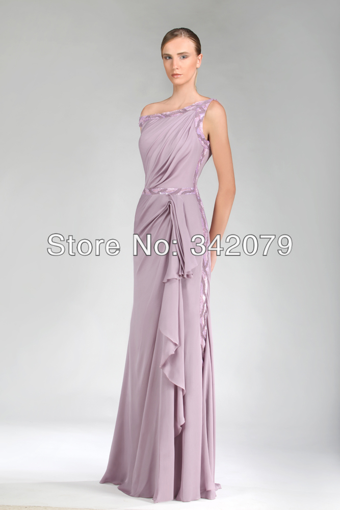 ph11823 tony ward lilac dress made of delicately draped silk charmeuse softly embroidered lines of sequins women evening dress(China (Mainland))