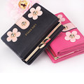 Women Foldable Wallet Korean Trend Sweet Style Flowers Ornament Rivet Buckle Ornament Ladies Fashion Tri fold