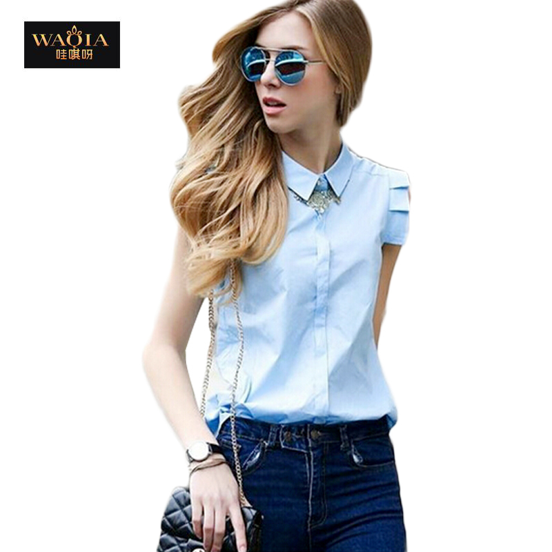 2015 New Women European And America Summer Style Sleeveless Turn Down Collar Short Petal Sleeve Cotton Blouses Tops Shirts(China (Mainland))