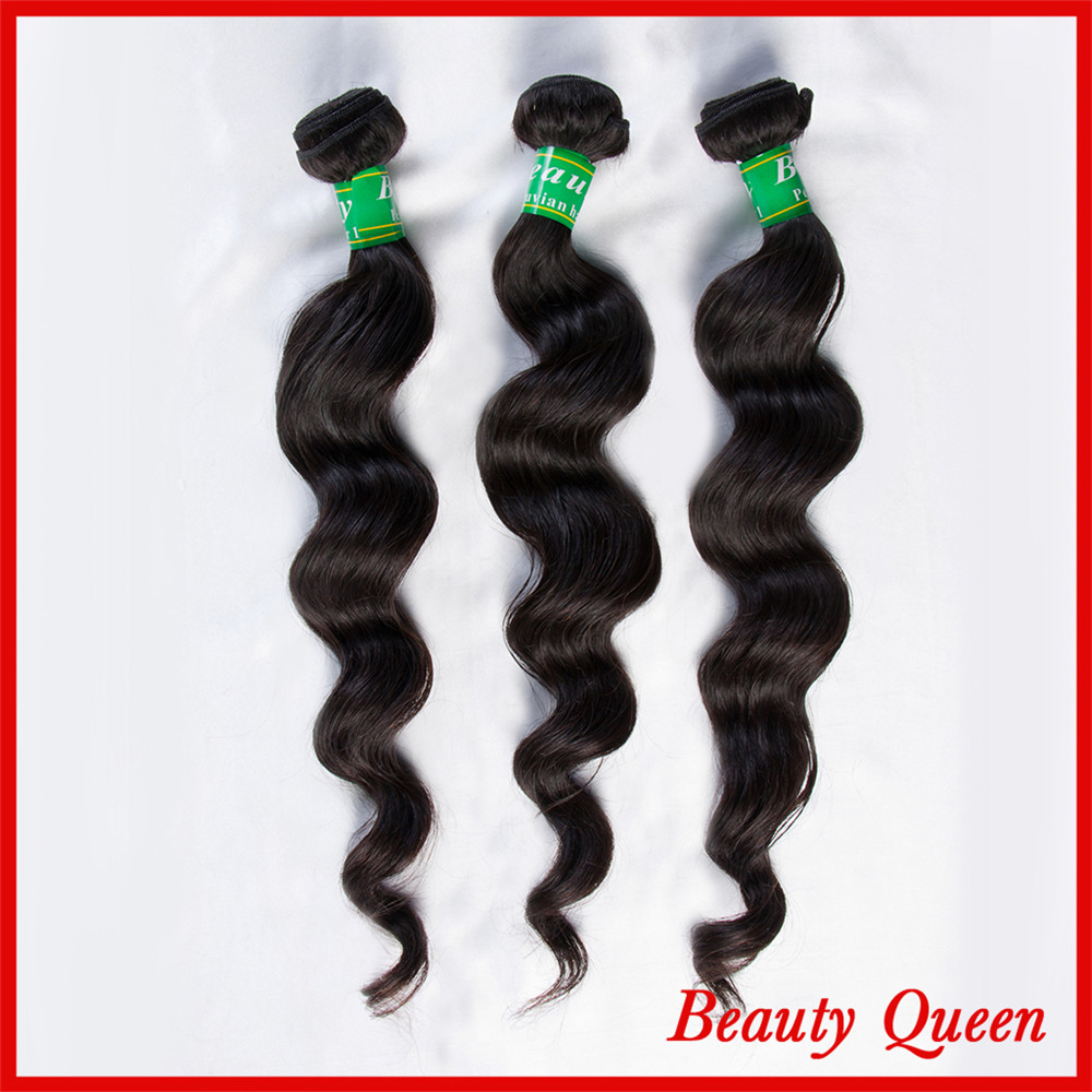 7A Peruvian loose wave Natural black Tangle Free No Shedding 3 Bundles DHL Free shipping