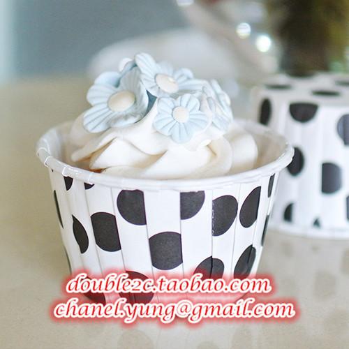 Free Shipping 50pcs Black Dot Paper Cup Kitchen Cupcake Cases Baking Cups Cake Shop Supplies(China (Mainland))