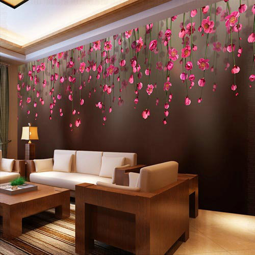 ... Decoration Grande Fresque Murale Paysage Red Flower wall from Reliable