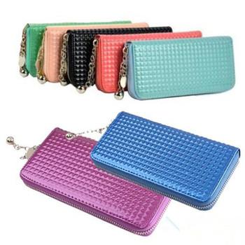 Женщины молния полиуретан кожа Разноцветный сцепление чехол леди длинная сумочка ...