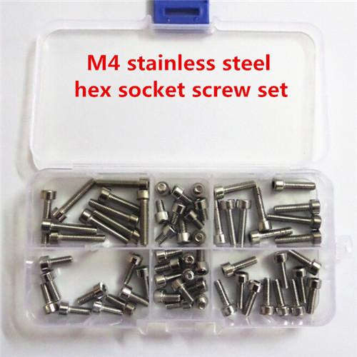 60pcs m4*6 / 8 / 10 / 12 / 16 / 20 stainless steel hex socket head cap machine screw set / ccessories kit(China (Mainland))