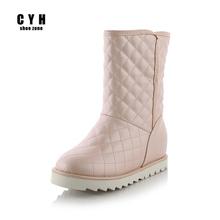 Invierno Mujeres Guinga MIid Pantorrilla Australia Aumento de la Altura Plataforma de Piel Caliente Botas de Nieve Negro Azul Rosa Blanco Tamaño Grande 9.5 Zapatos(China (Mainland))
