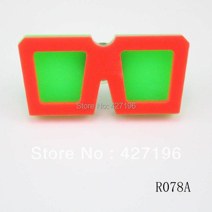 fashion cheap ring mix colorS fluorescence neon square glasses girls rings 6 pieces /lot 2016 autumn accessories(China (Mainland))
