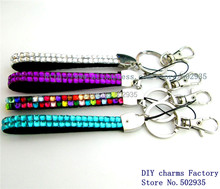 10pcs mix color NEW Rhinestone Bling Crystal Key Chain Lanyard Neck ID Badge Cell Phone Holder(China (Mainland))