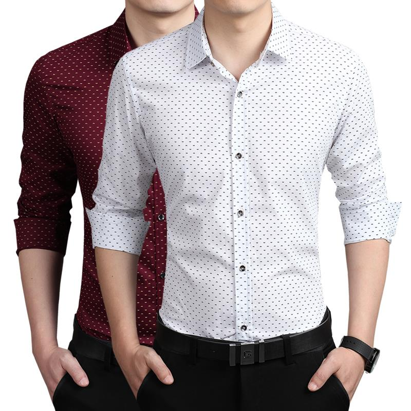 2015 new arrival summer men casual shirts brand men long slevee cotton slim fit shirt 5xl plus size mens dress shirt(China (Mainland))