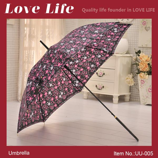 Free shipping!Fashion semi automatic long-handled colorful cloth umbrella flower purple color UU-005(China (Mainland))