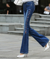New arrival spring autumn embroidery flare women pants fashion plus size denim jeans casual trousers slim