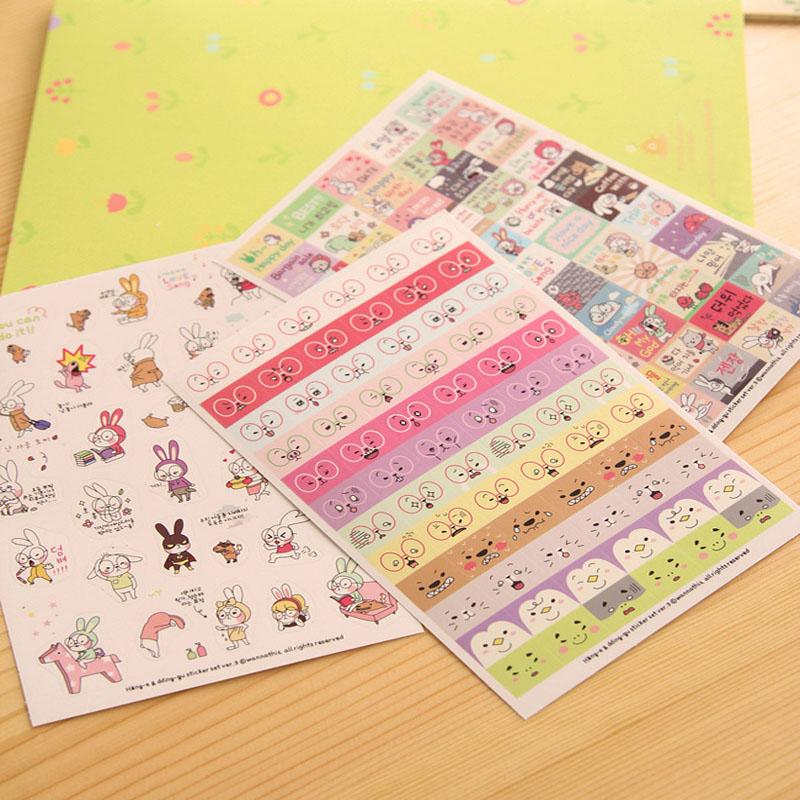 Гаджет  Fashion Multicolor 6 Sheets Notes book Sticker Label Rabbit Diary Scrapbook Calendar Cellphone Decoration None Офисные и Школьные принадлежности