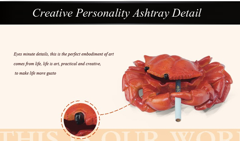 kaloud Covered Car Ashtray Resin Gadget Portable Ashtray Accessories For Cigars kawaii Crab Smoking hookah Figurines 1506