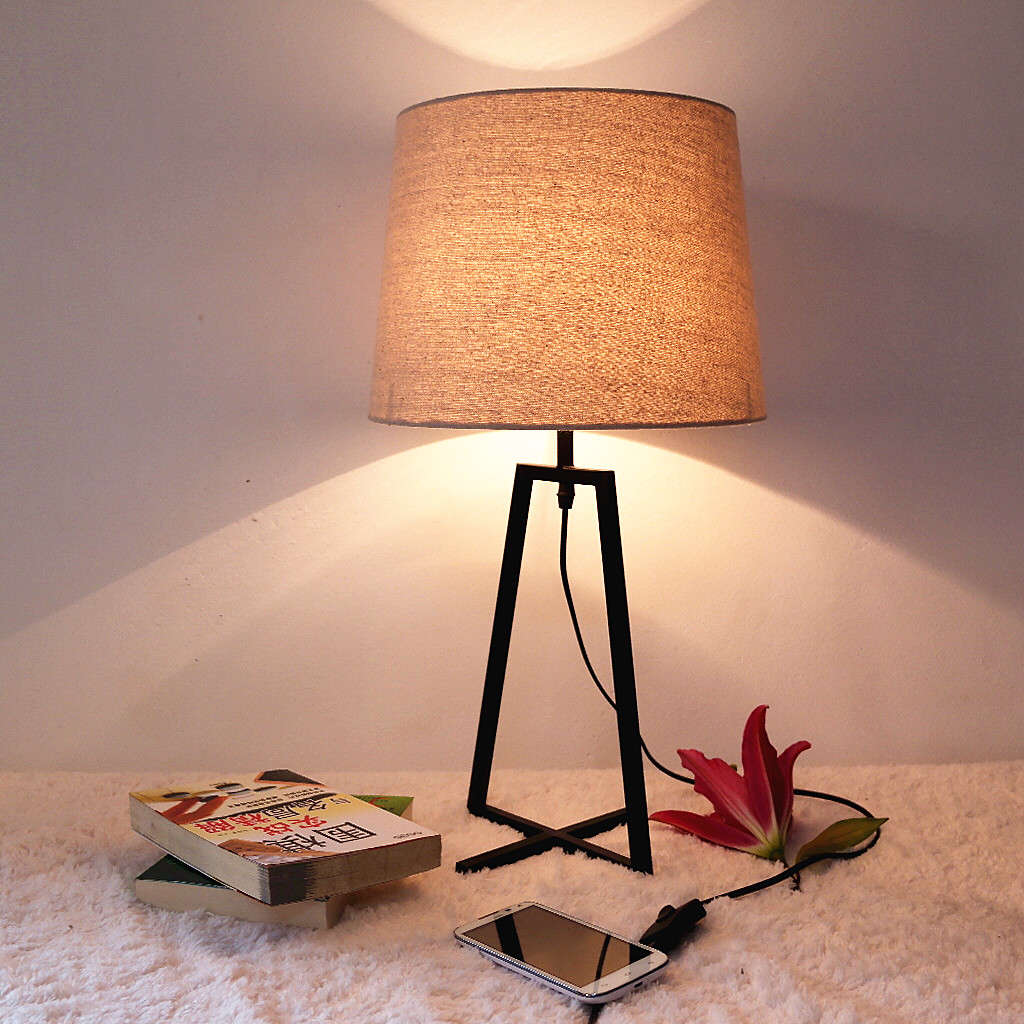 wrought iron table lamp ofhead linen fabric. Black Bedroom Furniture Sets. Home Design Ideas