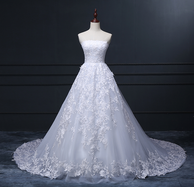 Real made strapless white lace tulle puffy skirt long for Wedding dresses with tulle skirts