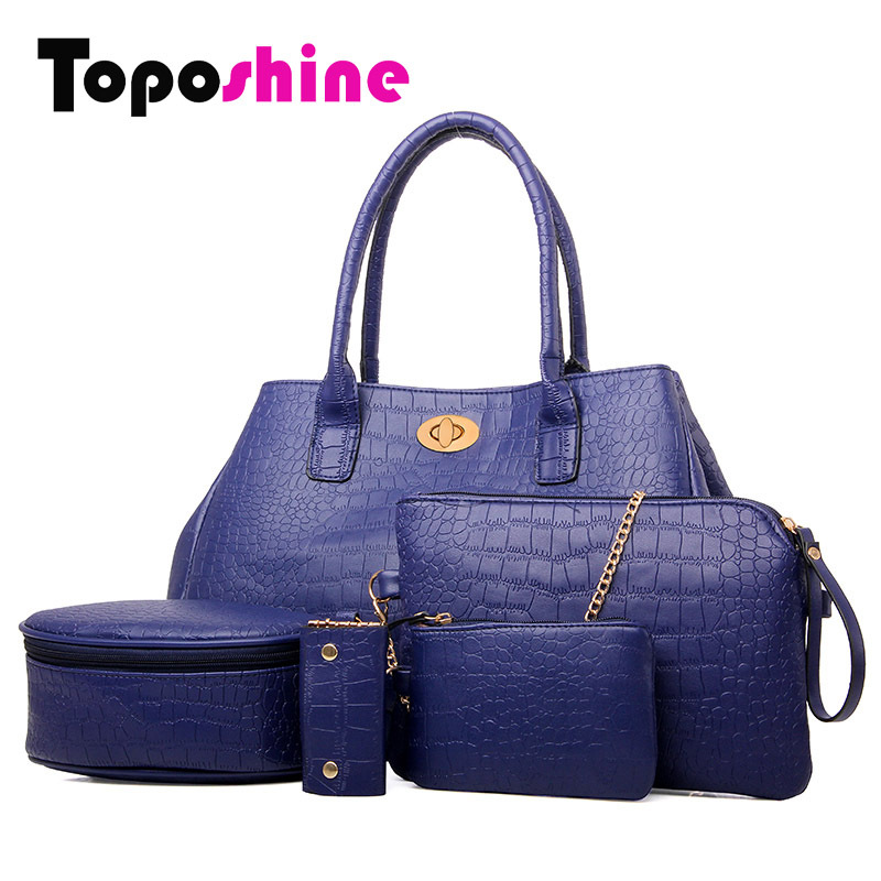 2015 Shoulder Crossbody Desigual Bag new crocodile bags genuine pu leather Handbag Women Messenger Bag 5 Bags per set(China (Mainland))