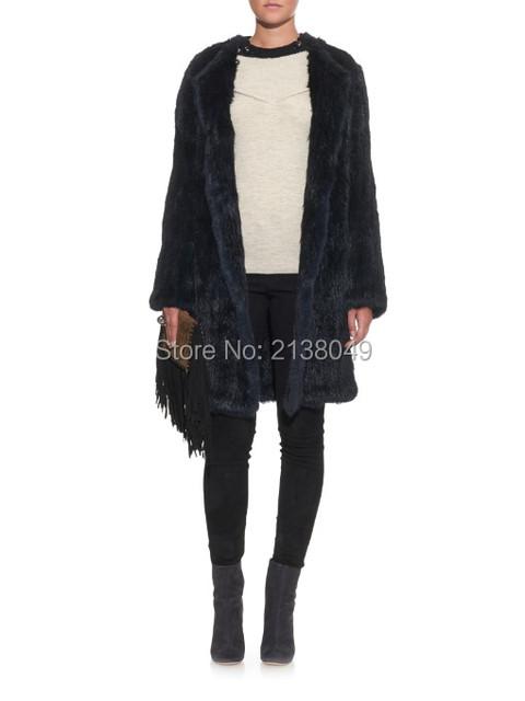 FC03902 Женщины зима теплая широкий талией длинные стиль полный рукавом О шеи твердые цвета меха кролика трикотажные пальто