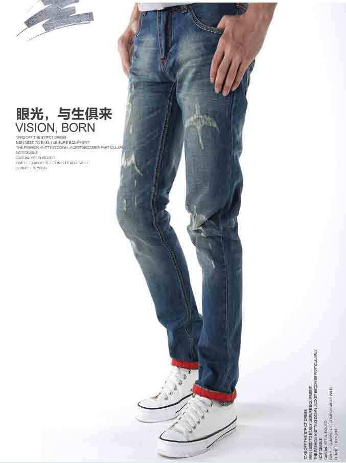Мужские джинсы зимние новые моды отверстие нищий хип-хоп прямо скелет напечатаны джинсы Мужская одежда высокого качества 8805
