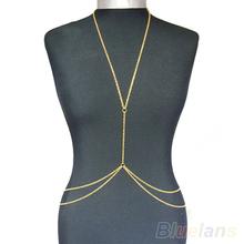 Womens Sexy Fashion Gold Body Belly Waist Chain Bikini Beach Harness Necklace  088Y(China (Mainland))